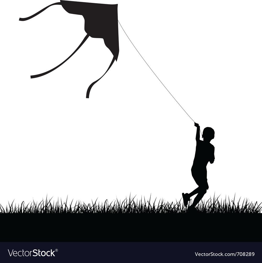 Running kite boy silhouette vector   Price: 1 Credit (USD $1)