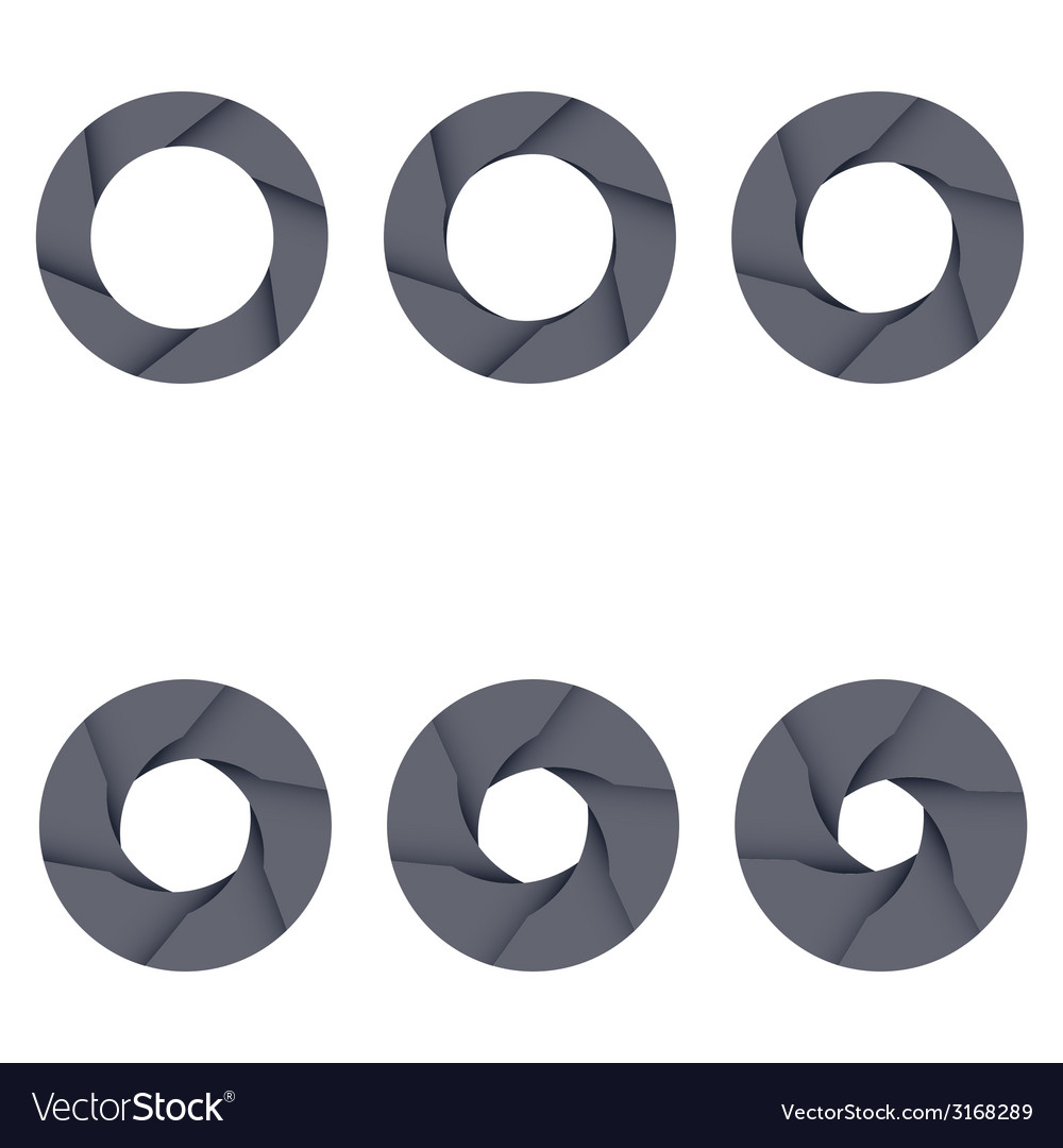 Set of black camera shutter icons on white vector | Price: 1 Credit (USD $1)