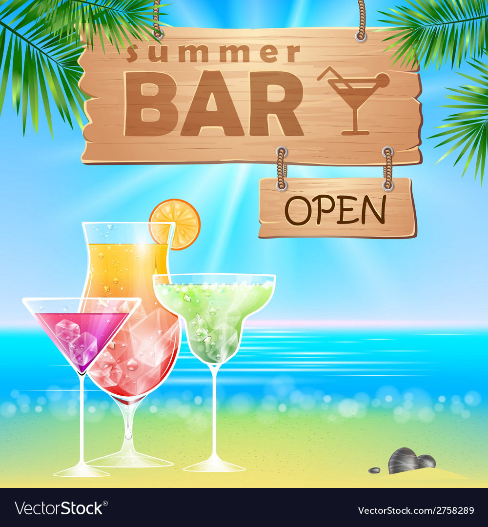 Summer seaside view poster cocktails bar vector | Price: 1 Credit (USD $1)