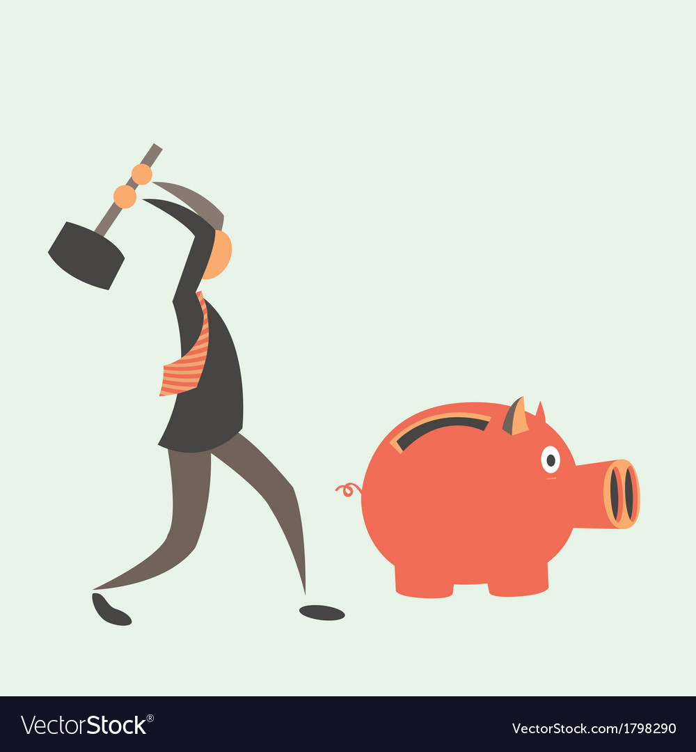 Business man breaking piggy bank with coins vector | Price: 1 Credit (USD $1)