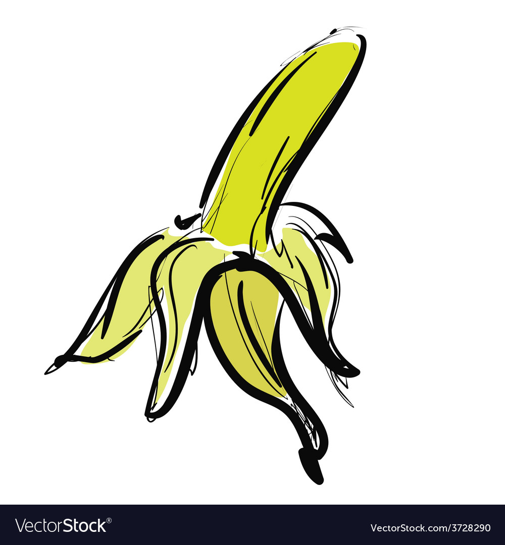 Cartoon yellow banana vector | Price: 1 Credit (USD $1)