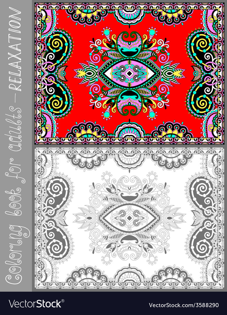 Coloring book page for adults - flower paisley vector | Price: 1 Credit (USD $1)