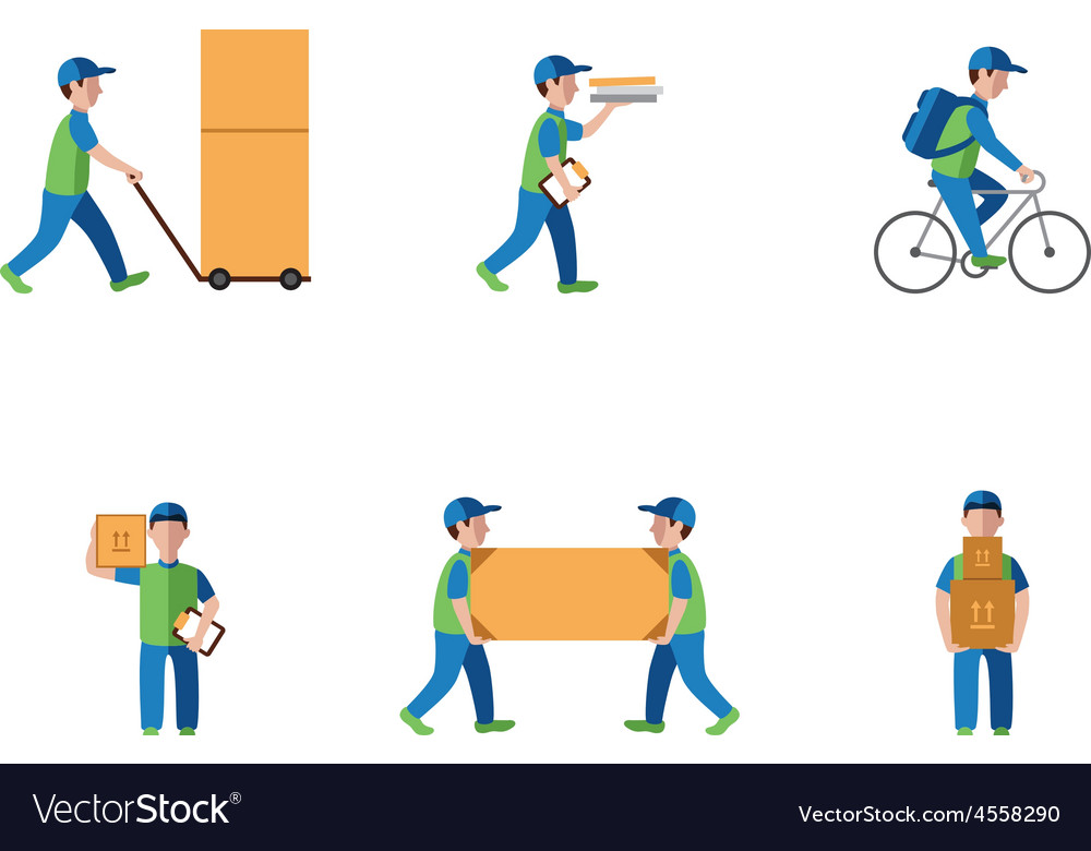 Delivery courier logistics flat style vector | Price: 1 Credit (USD $1)