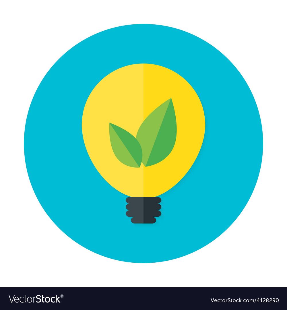 Eco idea flat circle icon vector   Price: 1 Credit (USD $1)