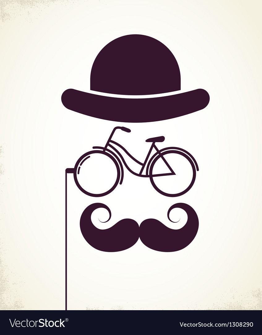 Gentlemen with bicycle eyeglass vector | Price: 1 Credit (USD $1)