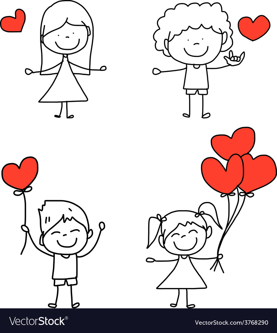 Happy kid and love characters vector | Price: 1 Credit (USD $1)