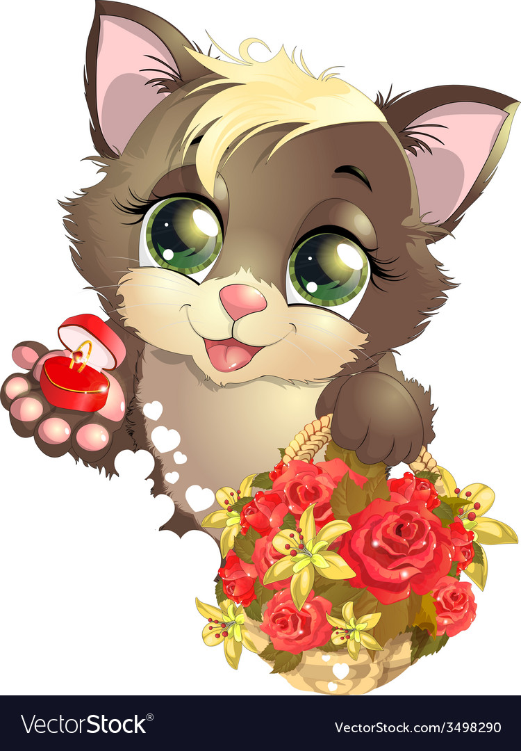 Kitten and flower vector | Price: 3 Credit (USD $3)