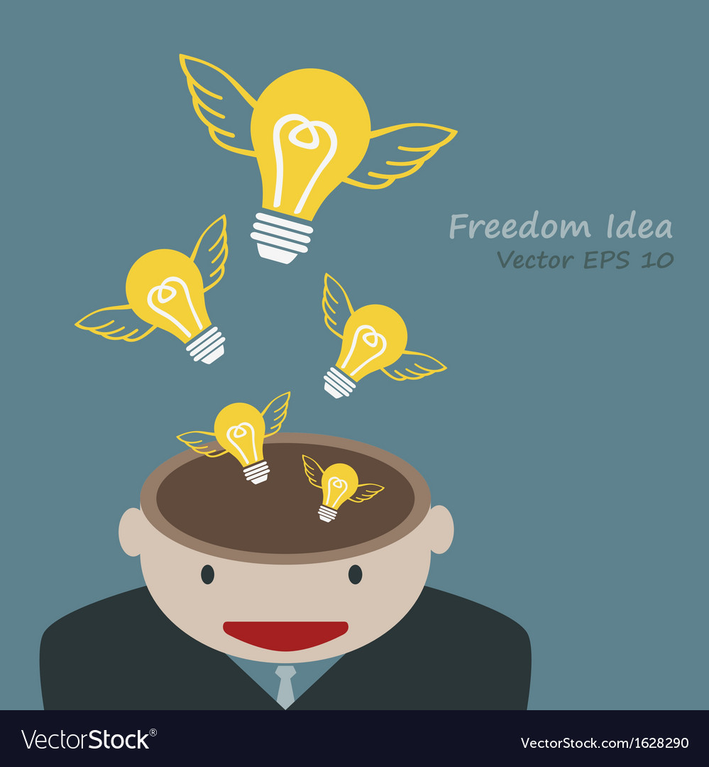 Lamp of idea concept out of head businessman vector | Price: 1 Credit (USD $1)