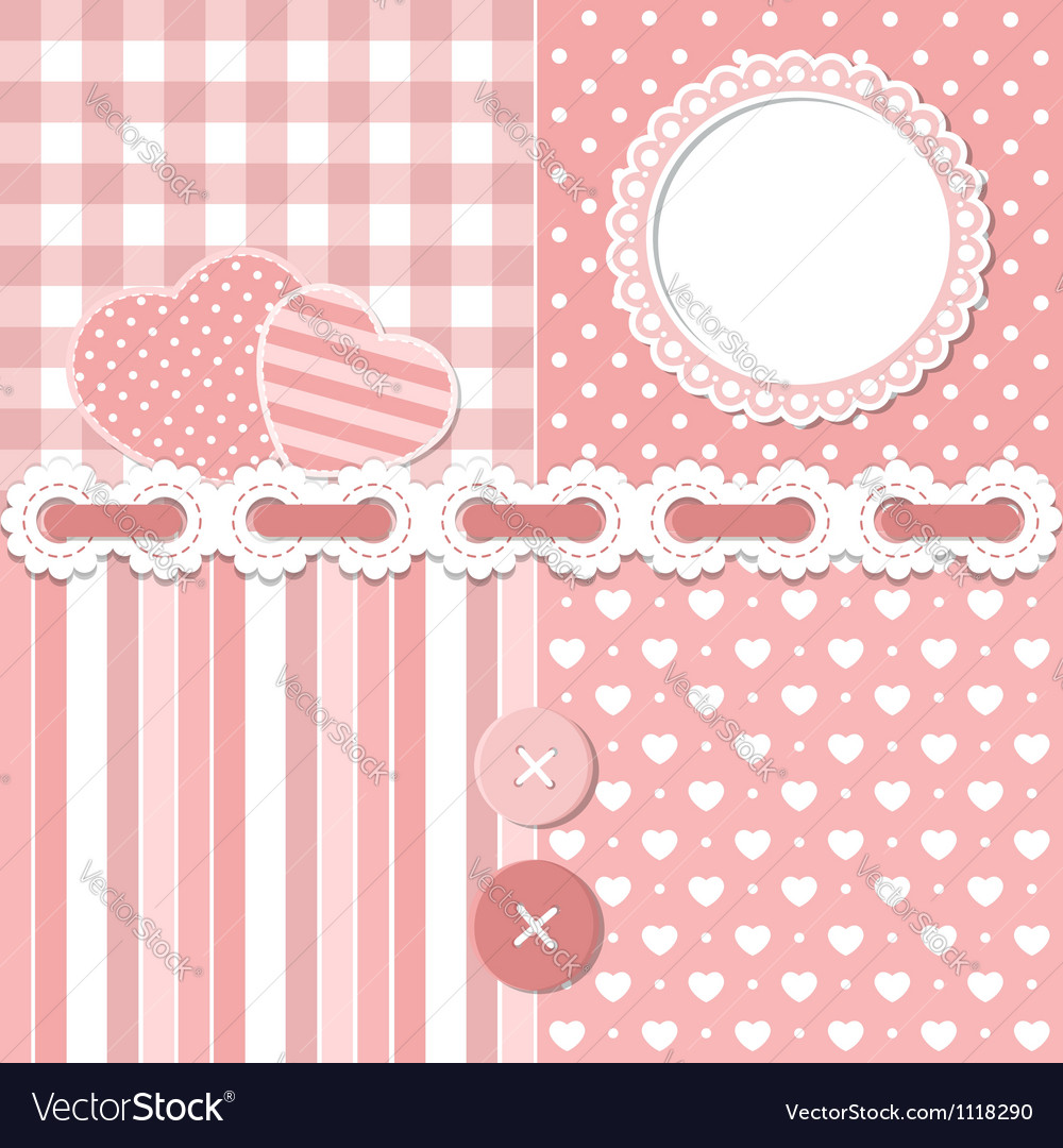 Pink scrapbook set vector | Price:  Credit (USD $)