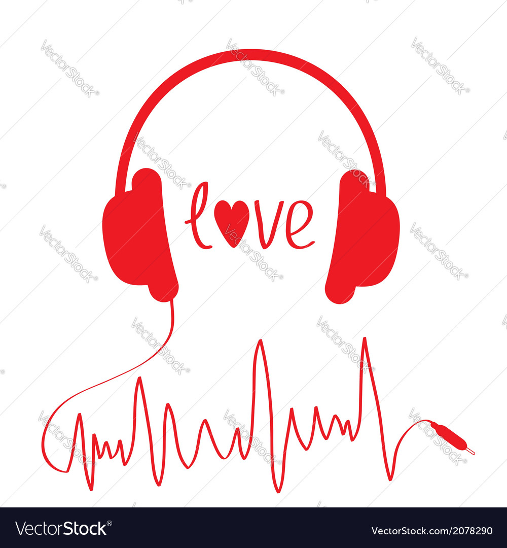 Red headphones with cord in shape of cardiogram vector | Price: 1 Credit (USD $1)