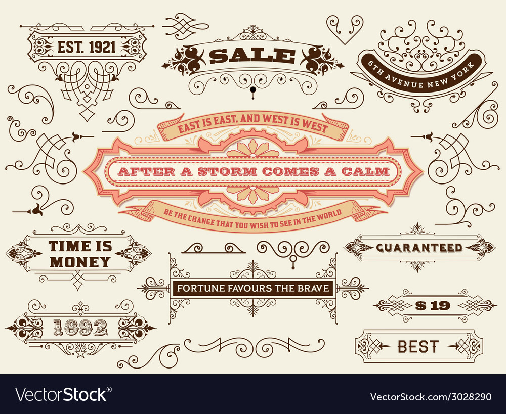Set of calligraphic design elements labels banners vector | Price: 1 Credit (USD $1)