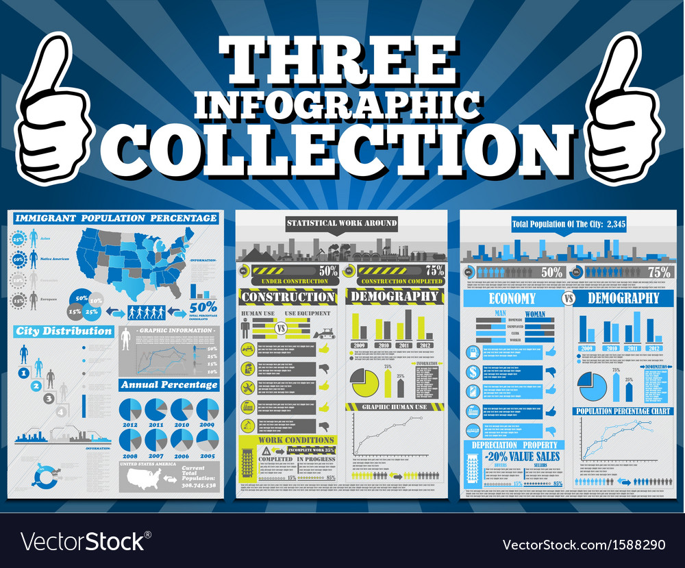Three infographic collection special edition vector | Price: 1 Credit (USD $1)