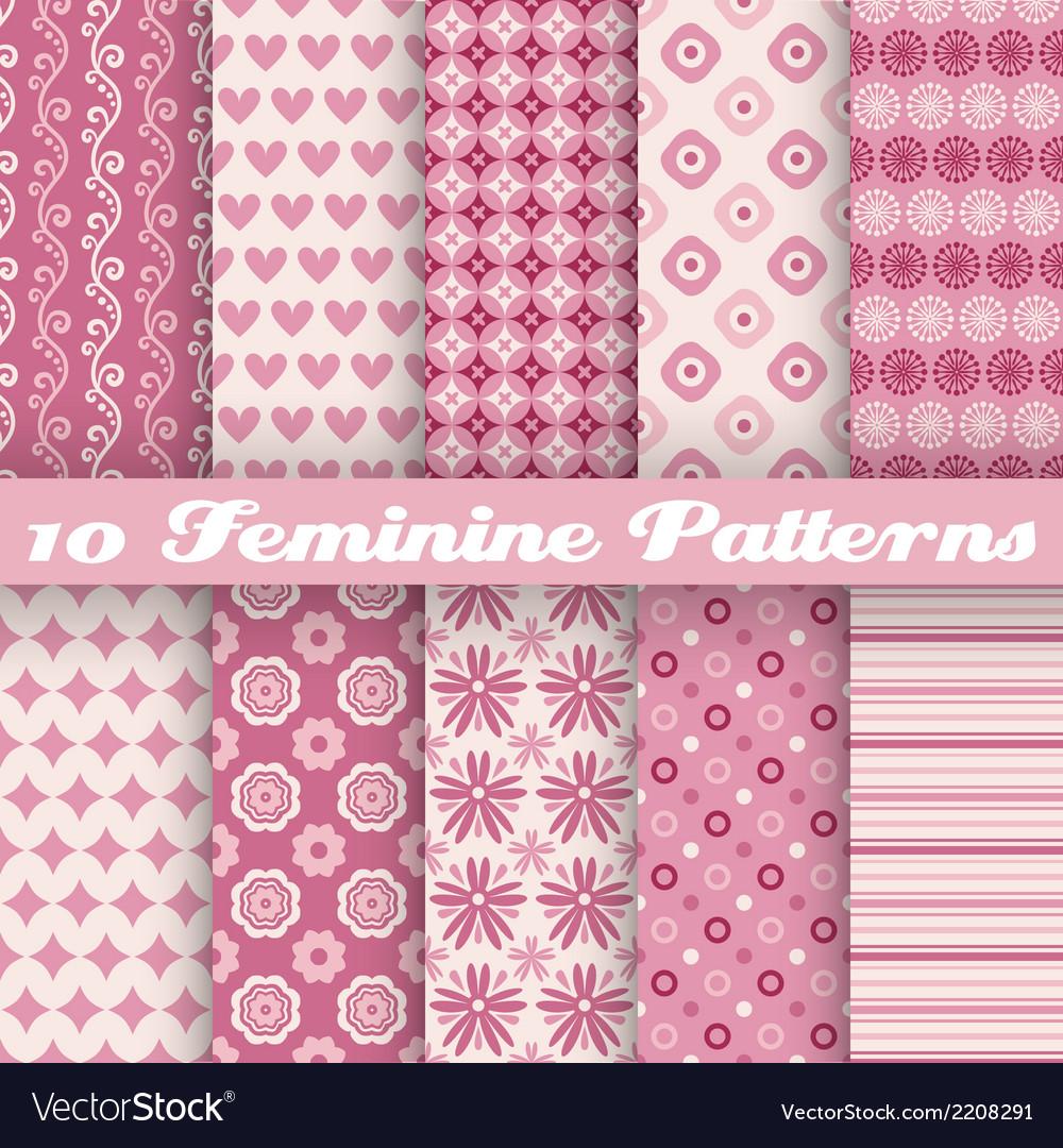 10 feminine seamless patterns tiling fond pink vector | Price: 1 Credit (USD $1)