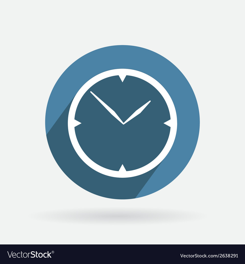 Circle blue icon with shadow clock vector | Price: 1 Credit (USD $1)