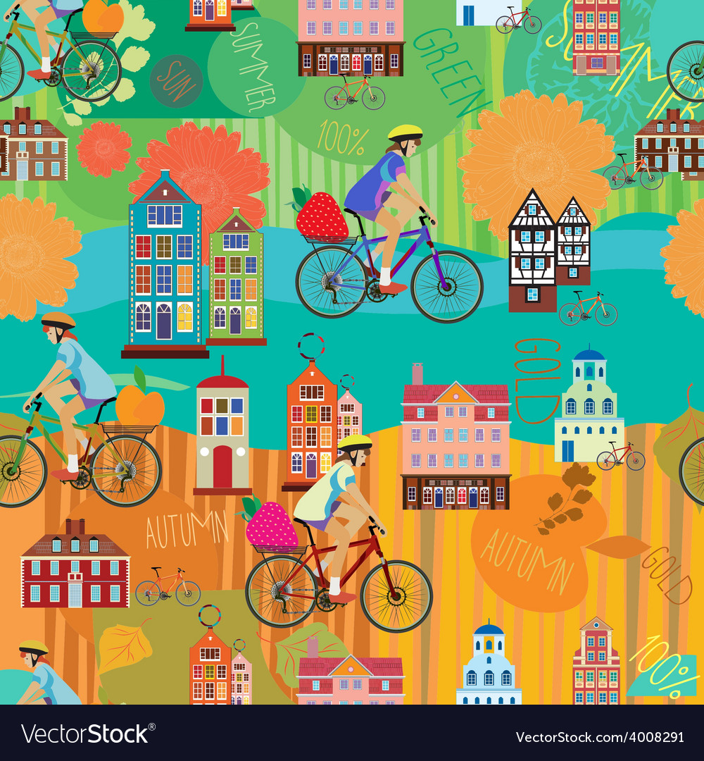Girl on a bicycle seamless pattern vector | Price: 1 Credit (USD $1)