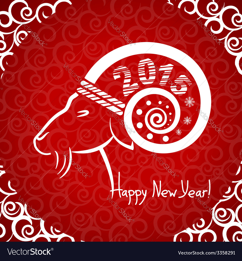 Happy new year red card with goat horn vector | Price: 1 Credit (USD $1)