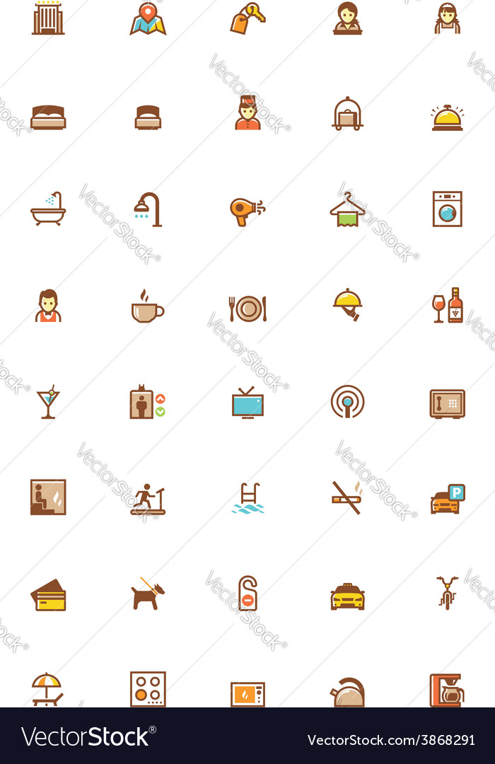 Hotel icon set vector | Price: 1 Credit (USD $1)