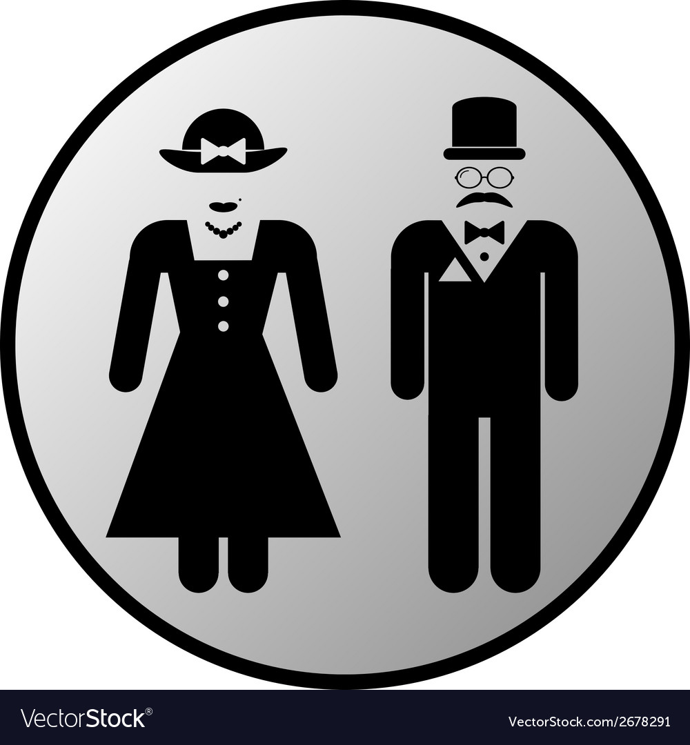 Male and female restroom symbol button vector | Price: 1 Credit (USD $1)