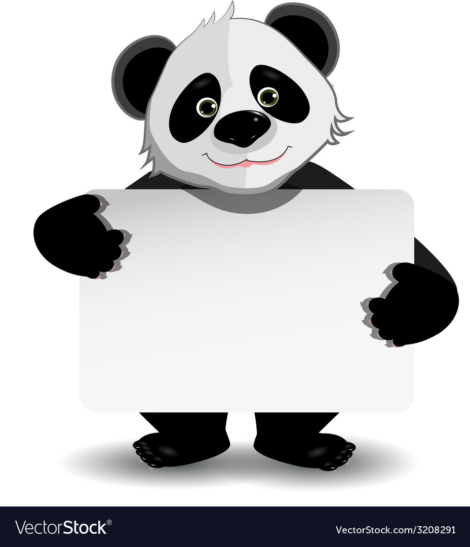 Panda with white background vector | Price: 1 Credit (USD $1)