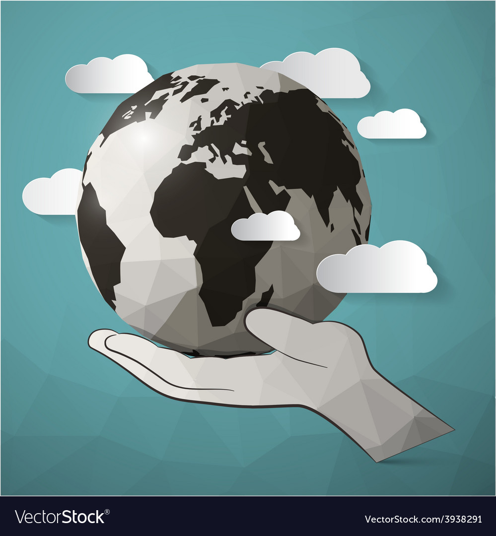 Paper planet earth in hand vector | Price: 1 Credit (USD $1)