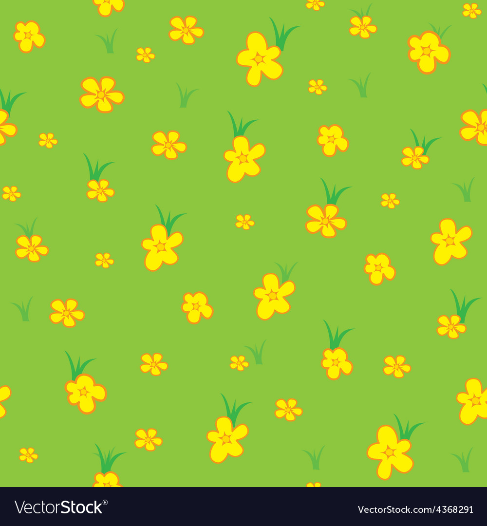 Seamless pattern grass and flowers vector | Price: 1 Credit (USD $1)
