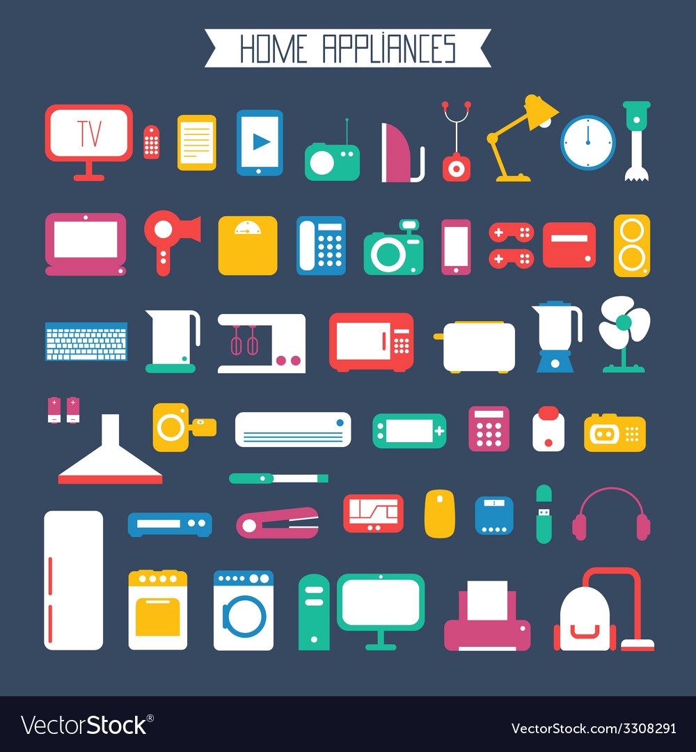 Set of electronic devices and home appliances vector | Price: 1 Credit (USD $1)