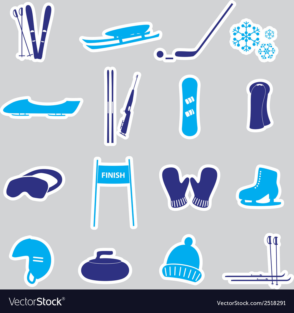 Winter sports and equipment stickers eps10 vector | Price: 1 Credit (USD $1)