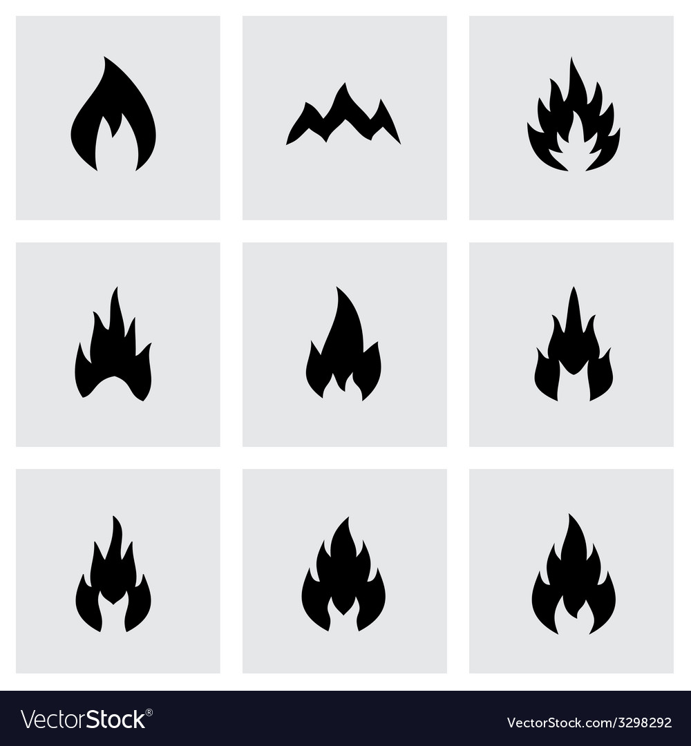 Black fire icon set vector | Price: 1 Credit (USD $1)