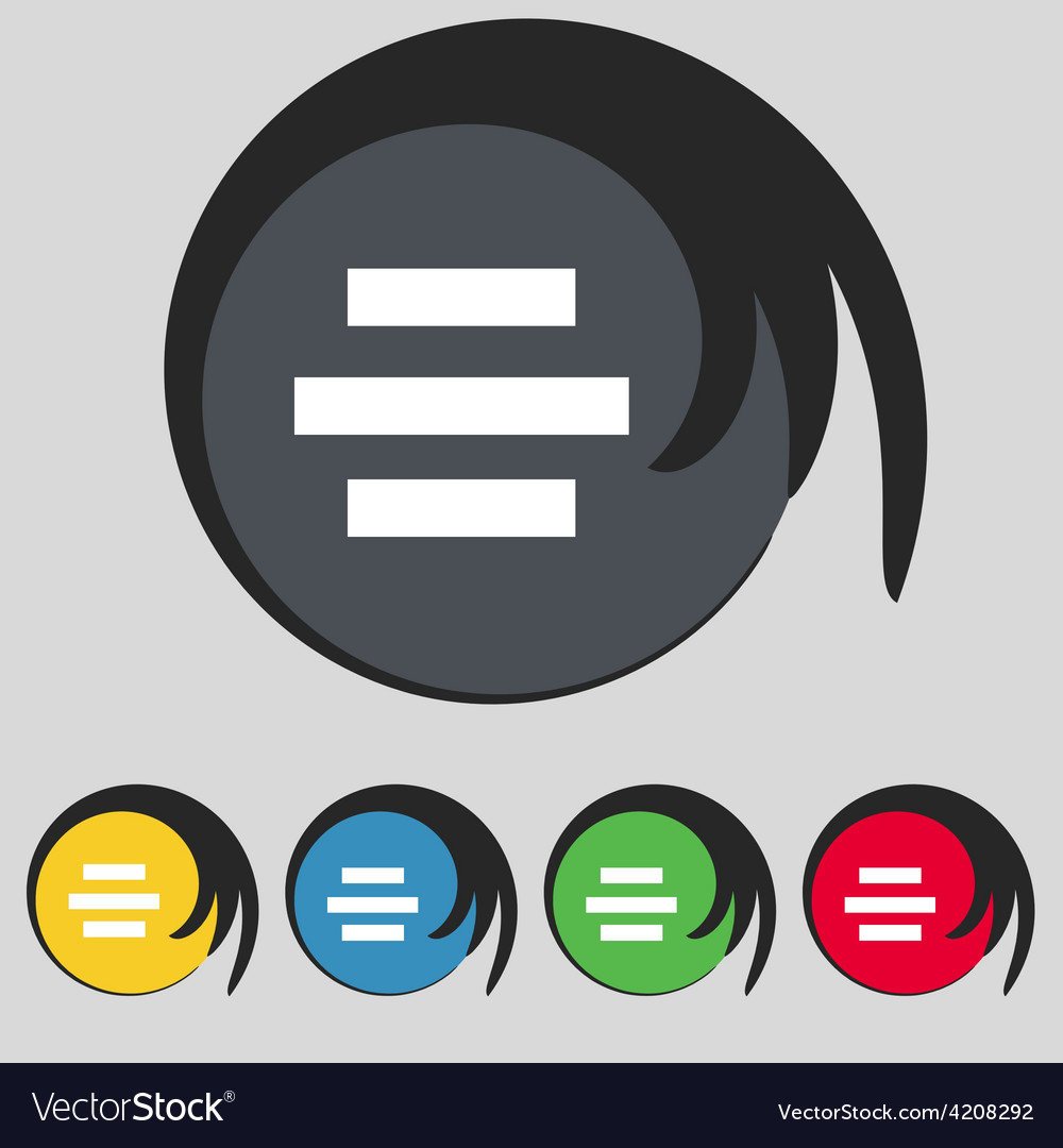 Center alignment icon sign symbol on five colored vector | Price: 1 Credit (USD $1)