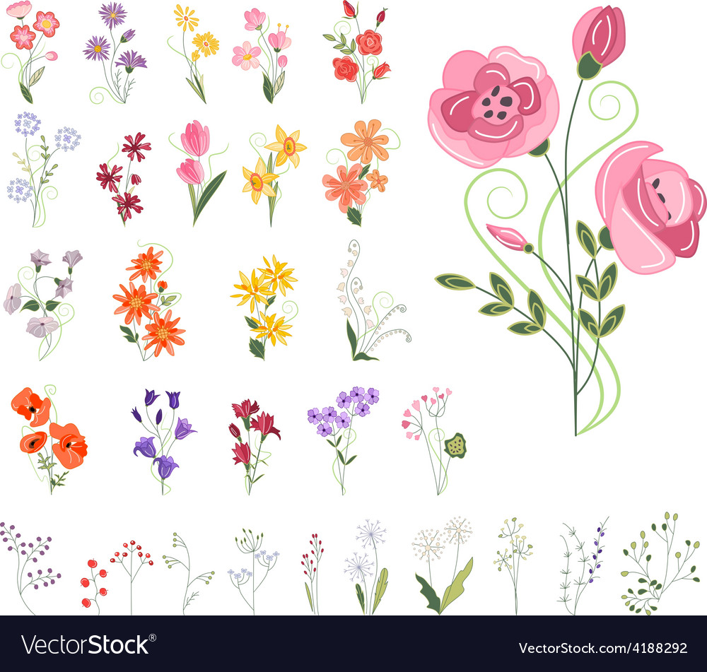 Collection of different stylized flowers vector | Price: 1 Credit (USD $1)