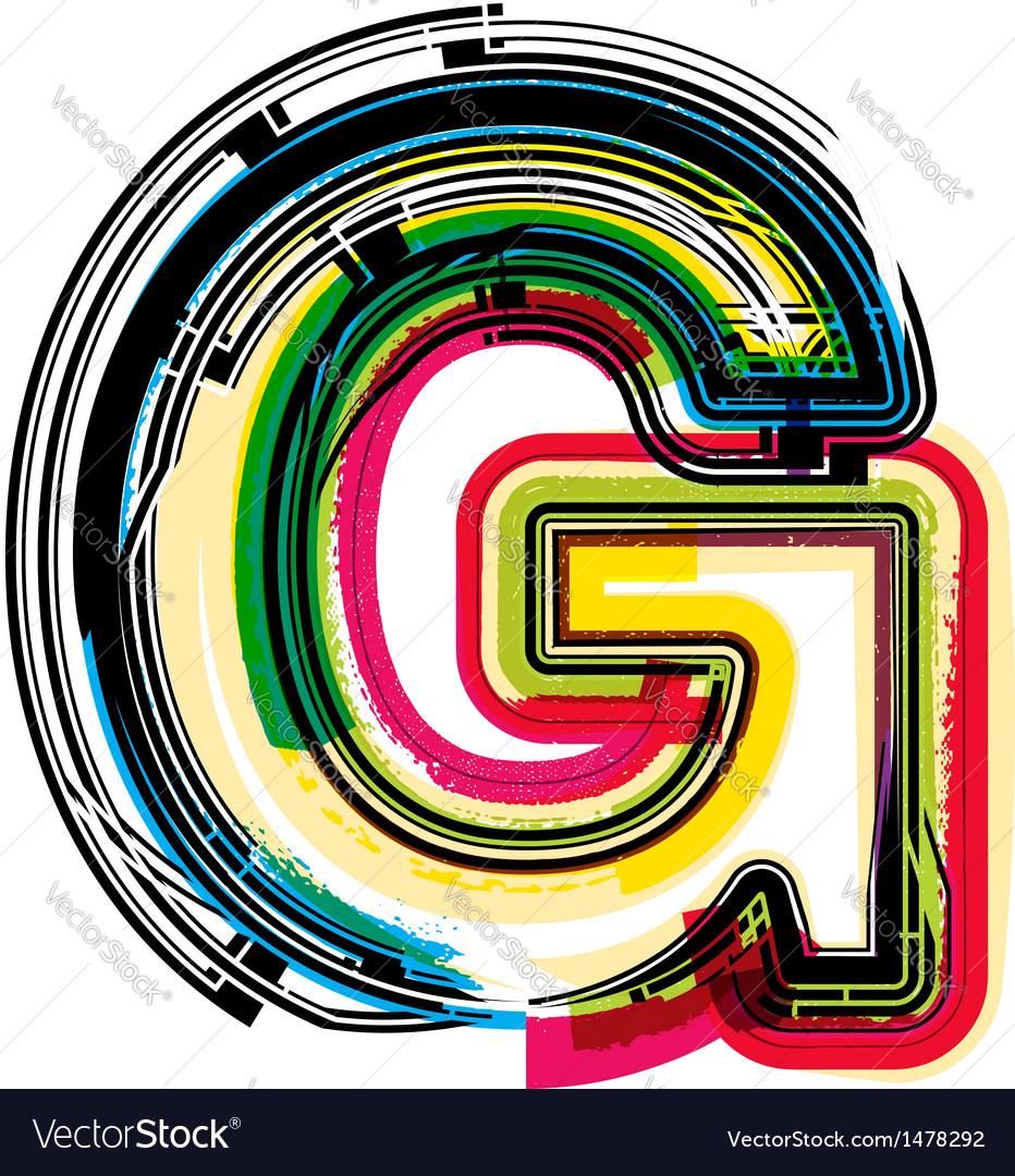Colorful grunge font letter g vector | Price: 1 Credit (USD $1)
