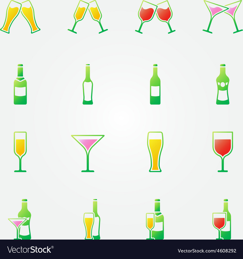Drink alcohol bright icons vector | Price: 1 Credit (USD $1)