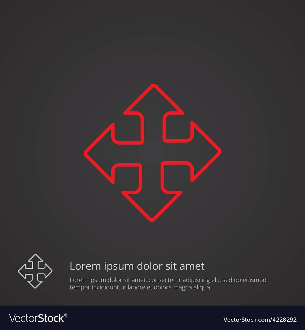 Move outline symbol red on dark background logo vector | Price: 1 Credit (USD $1)