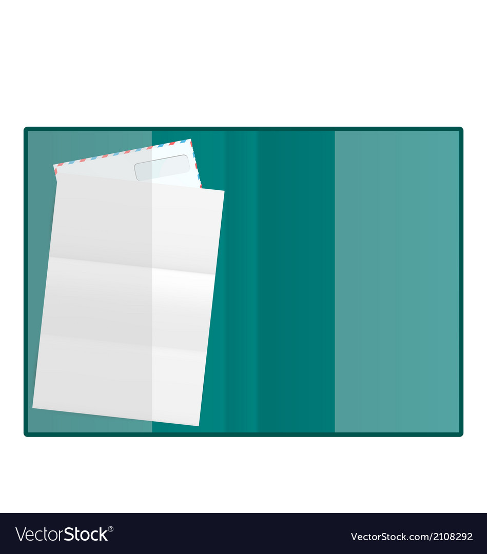 Open folder with paper and envelope isolated on vector | Price: 1 Credit (USD $1)