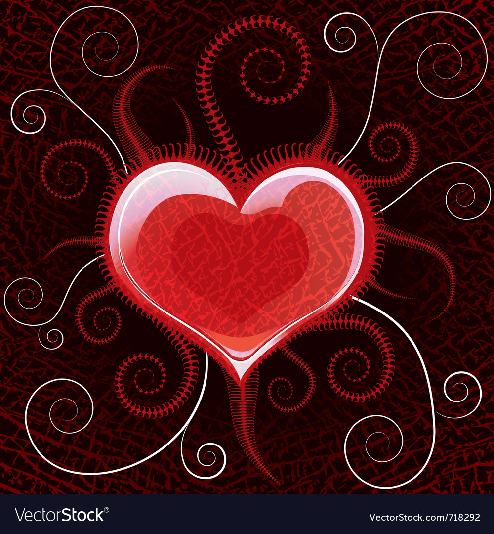 Red glossy heart on background vector | Price: 1 Credit (USD $1)