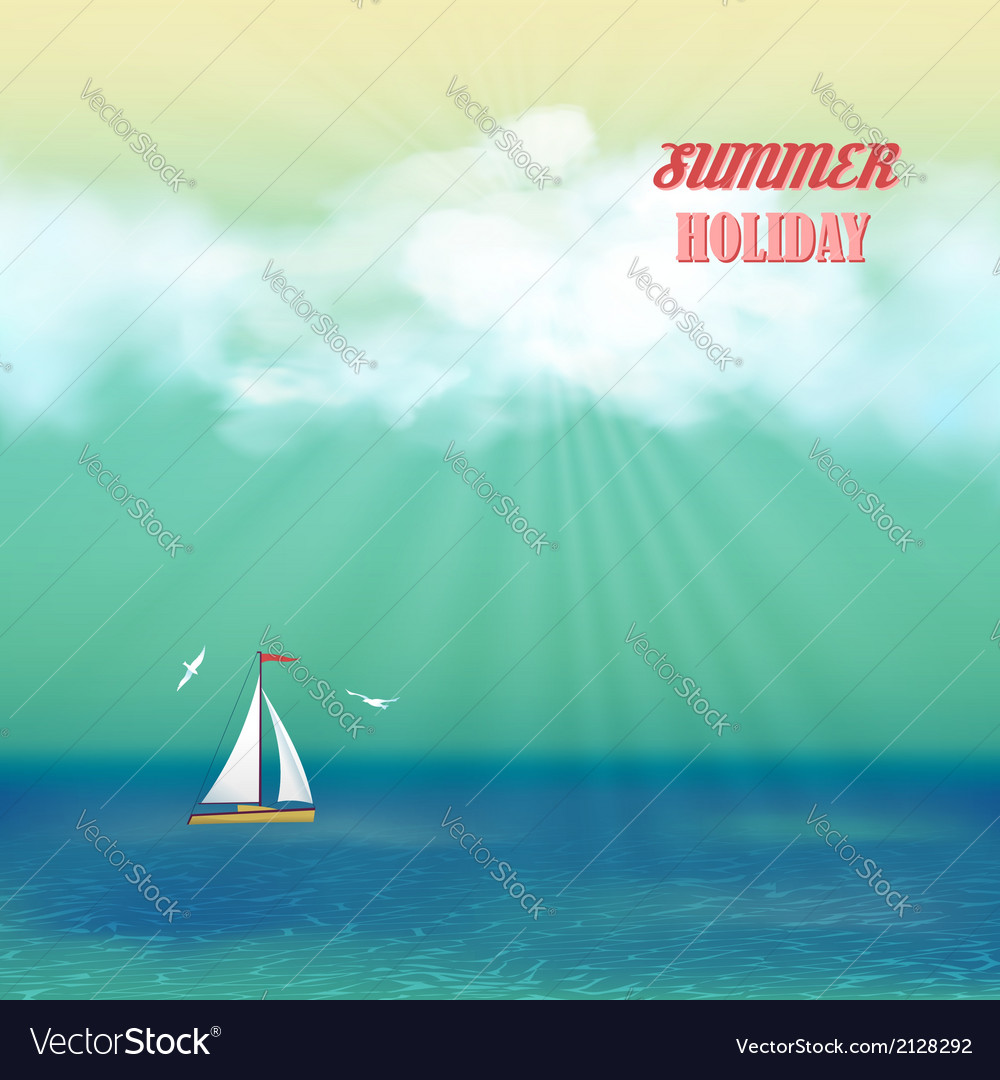 Retro sea yacht summer travel poster vector | Price: 1 Credit (USD $1)