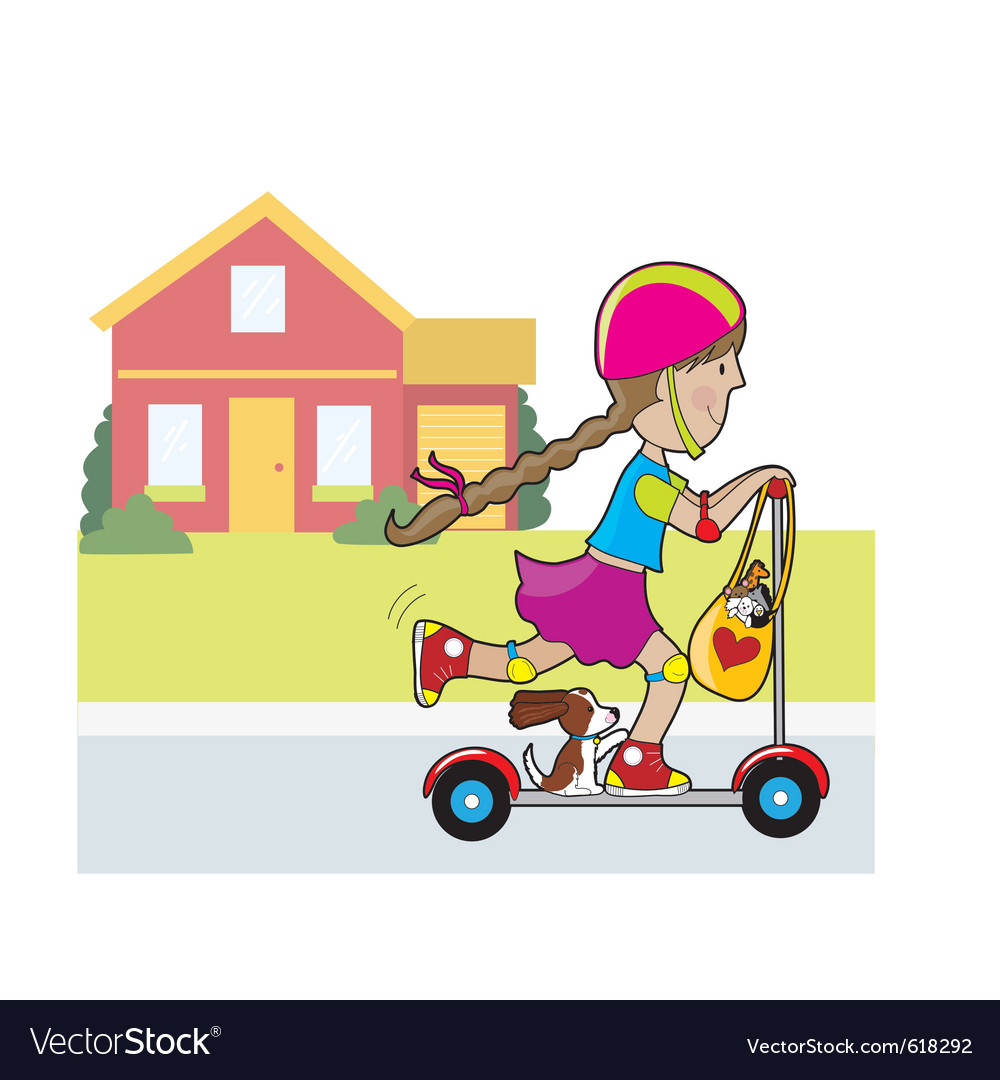 Scooter girl and house vector | Price: 1 Credit (USD $1)