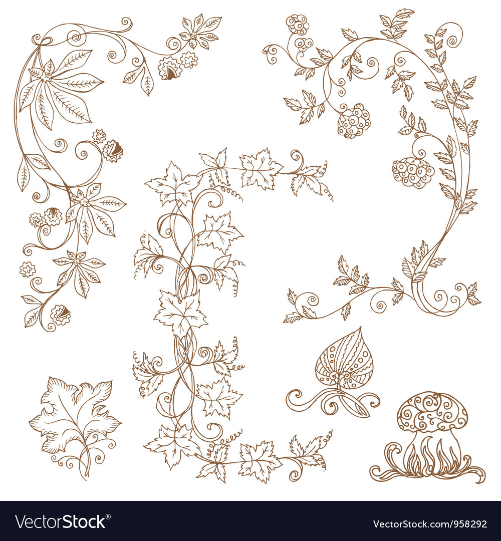 Set of decorative autumn branches vector | Price: 1 Credit (USD $1)