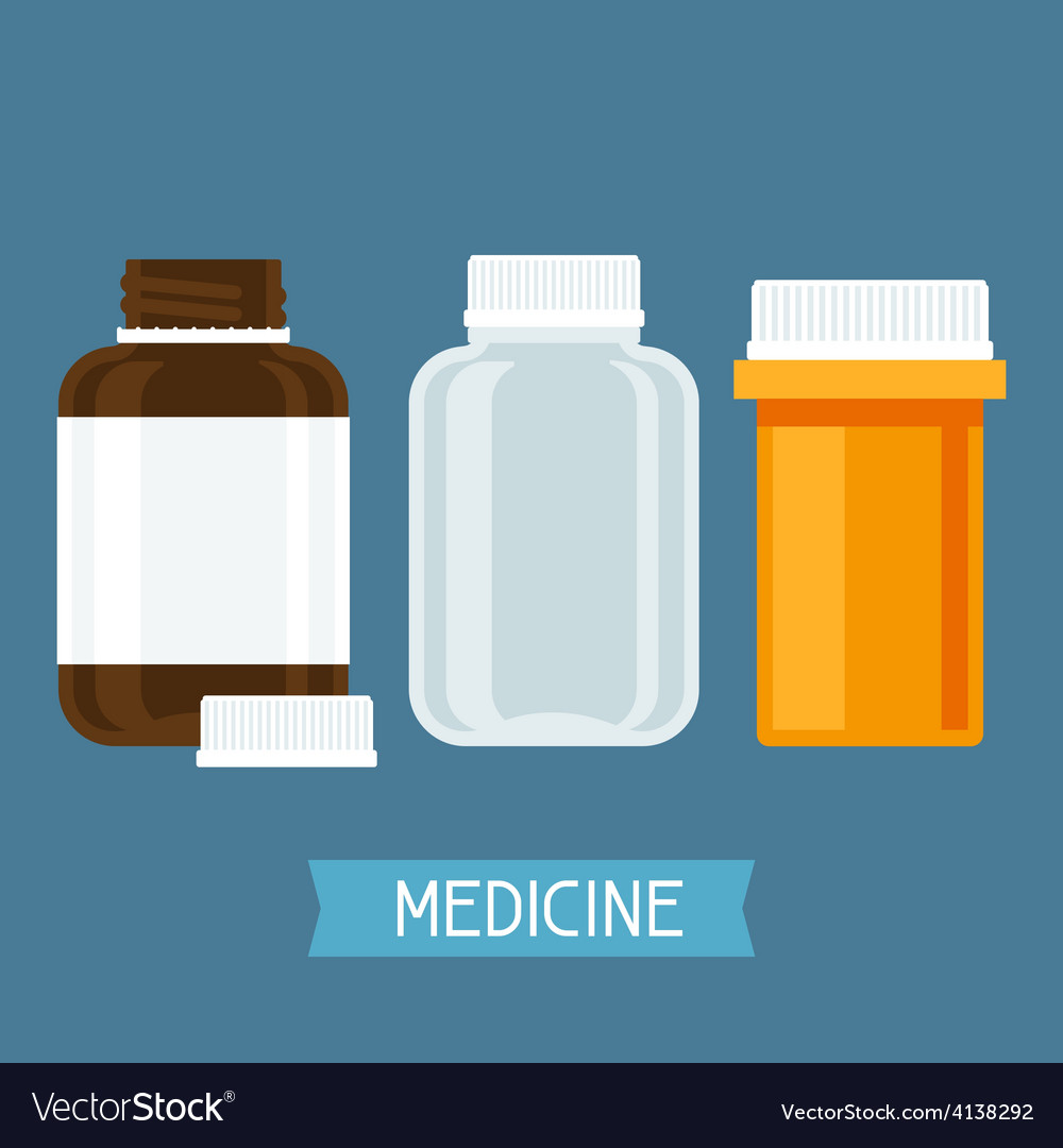 Set of three medical bottles with pills vector | Price: 1 Credit (USD $1)