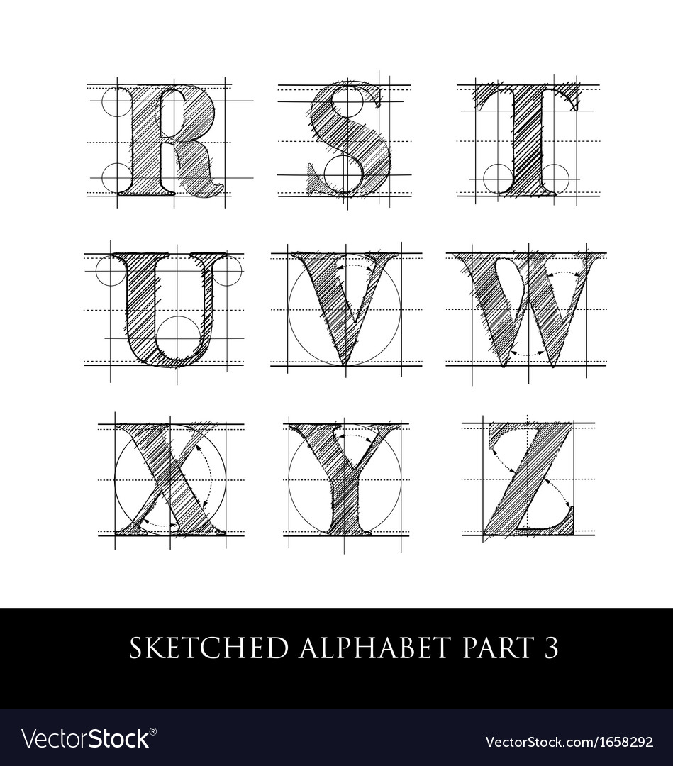 Sketched diagram alphabet set 3 vector | Price: 1 Credit (USD $1)