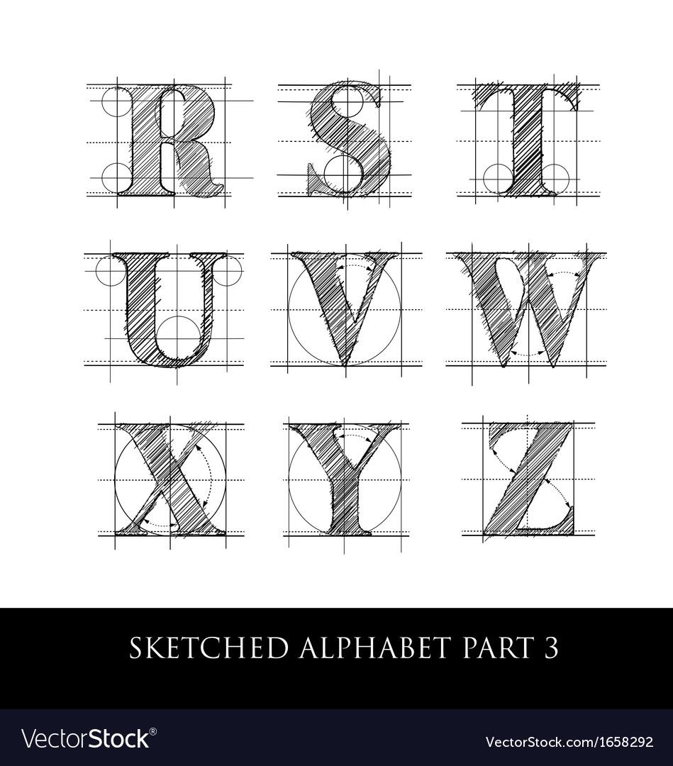 Sketched diagram alphabet set 3 vector | Price: 1 Credit (USD $1)