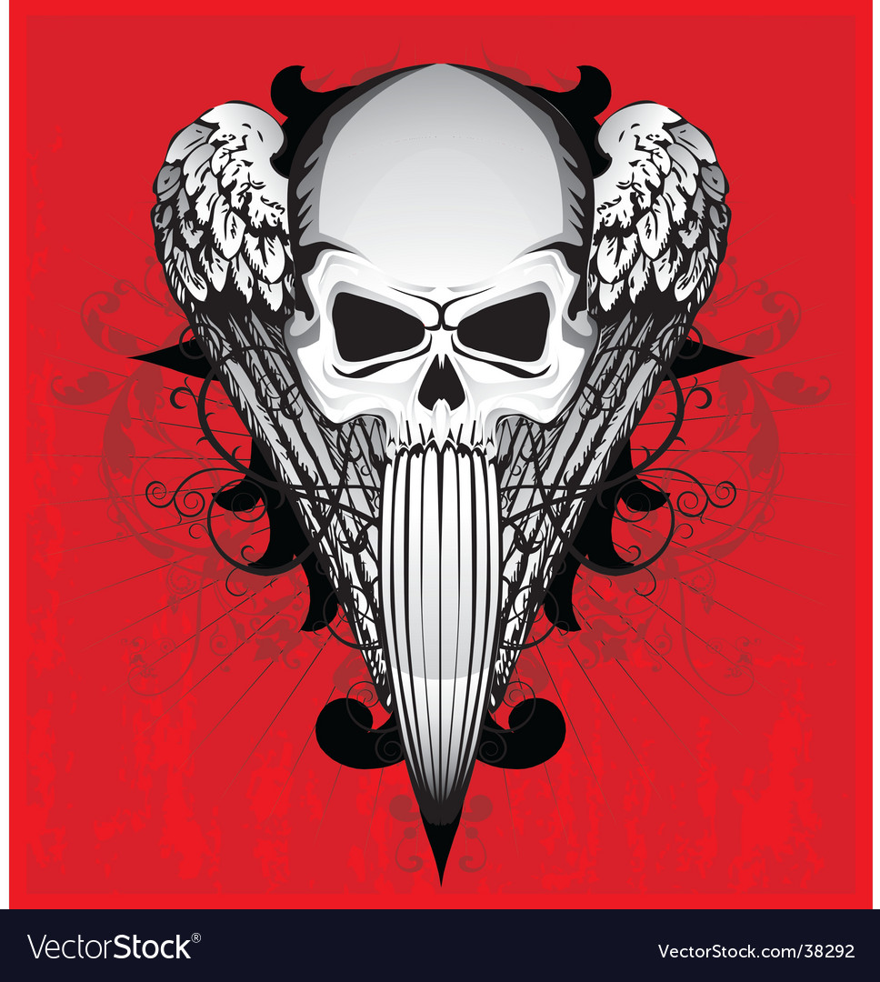 Skull with wings vector | Price: 3 Credit (USD $3)