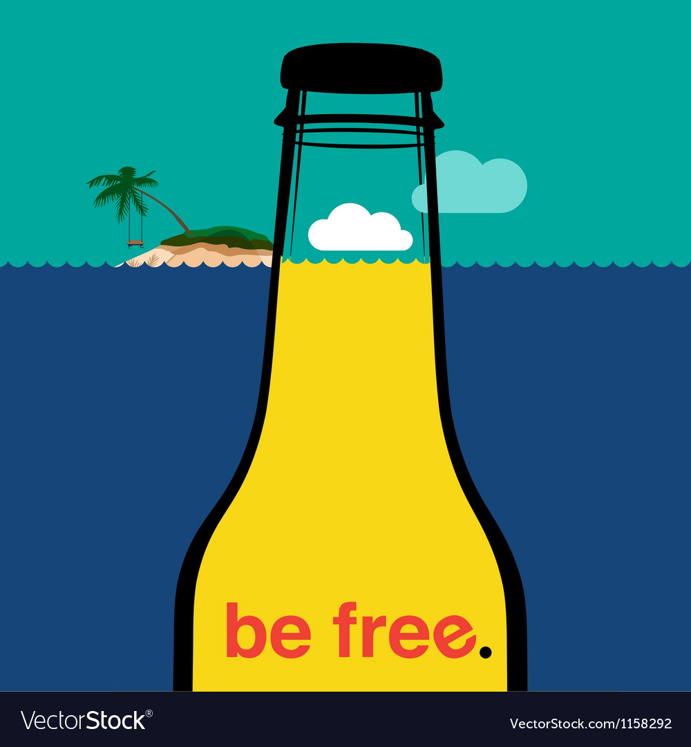 Summer bottle in the sea vector | Price: 1 Credit (USD $1)