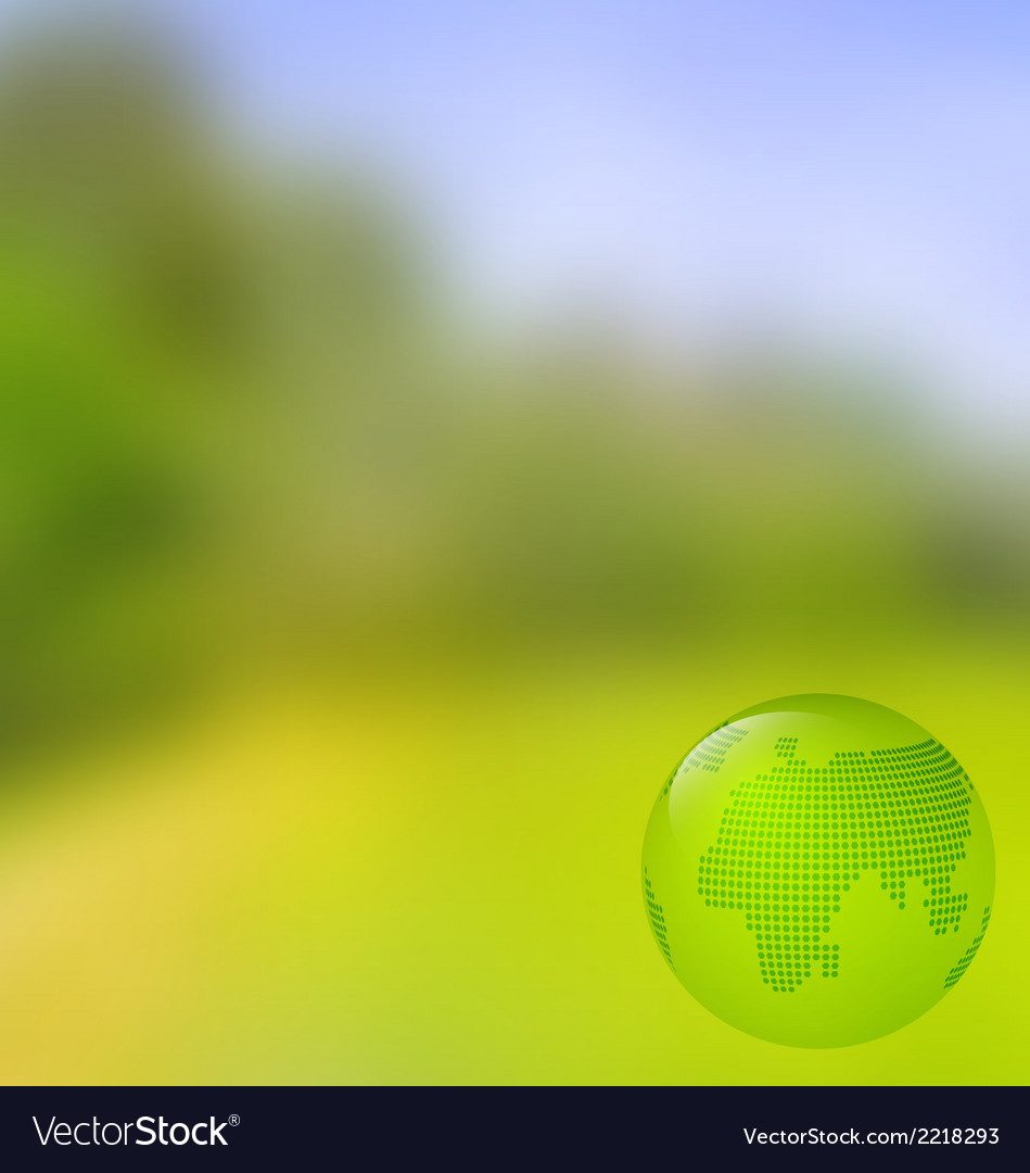 Blurred landscape background with globe vector | Price: 1 Credit (USD $1)