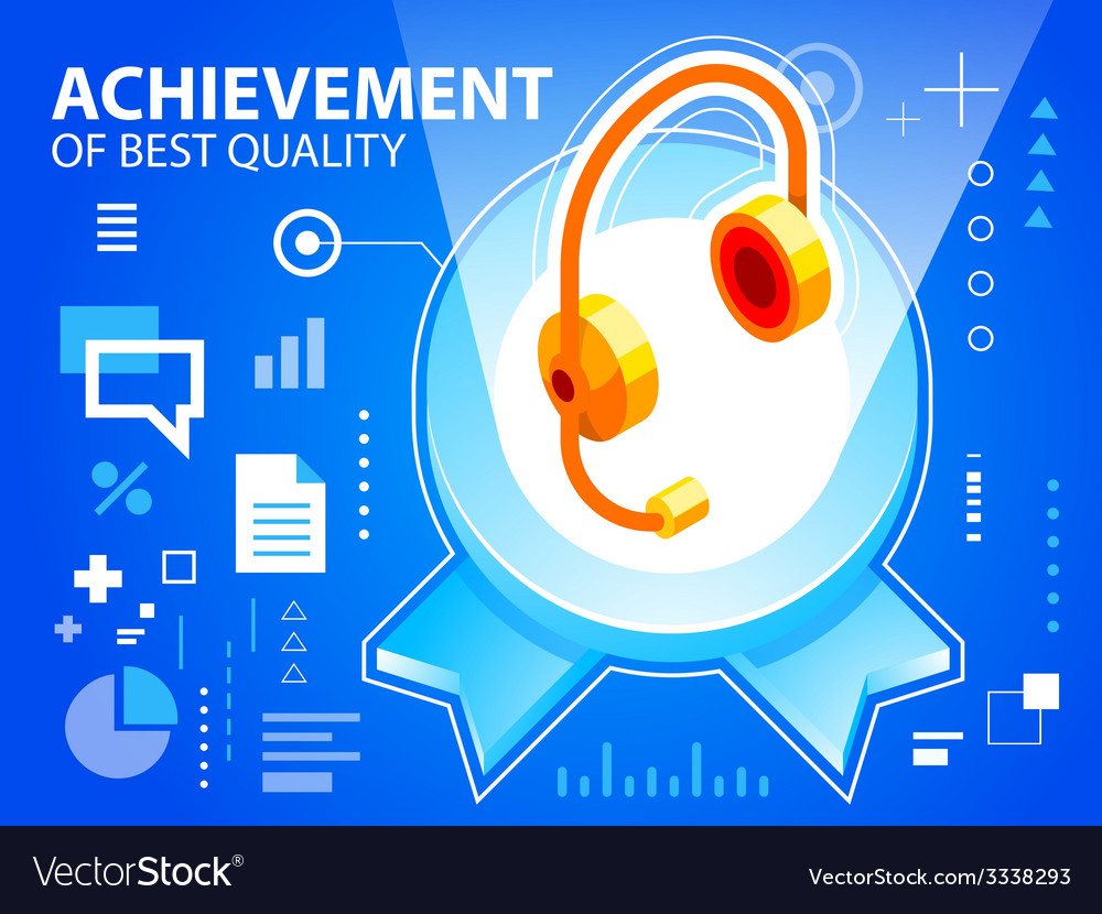 Bright emblem and head phone on blue backgro vector | Price: 3 Credit (USD $3)