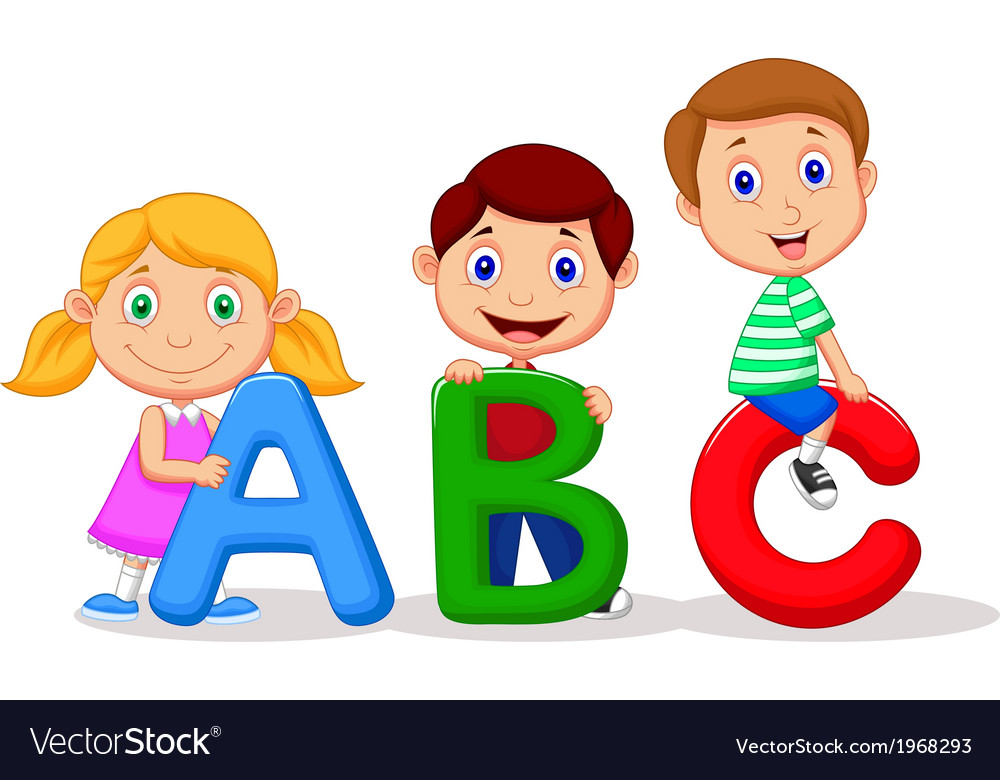 Children cartoon with abc alphabet vector | Price: 1 Credit (USD $1)