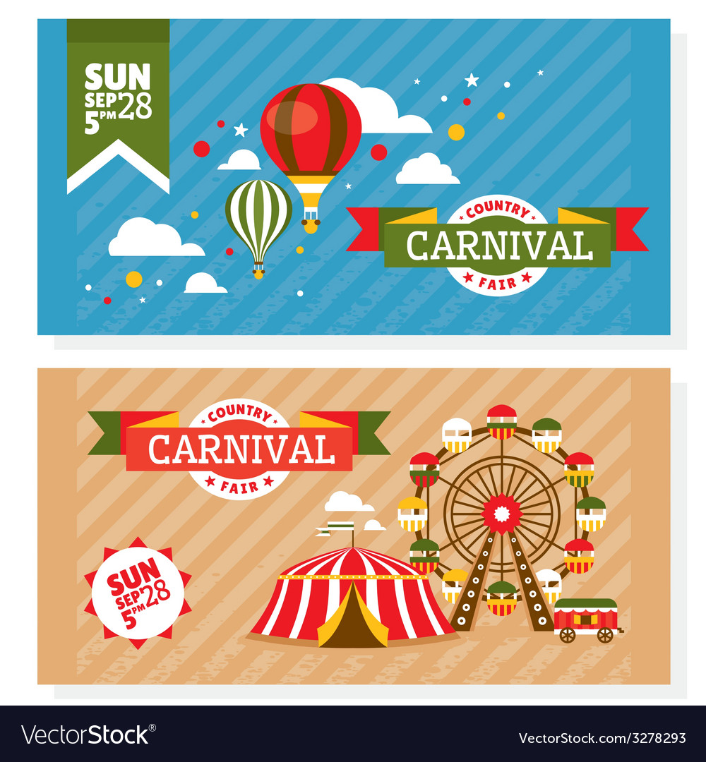 Country fair vintage invitation cards vector | Price: 1 Credit (USD $1)
