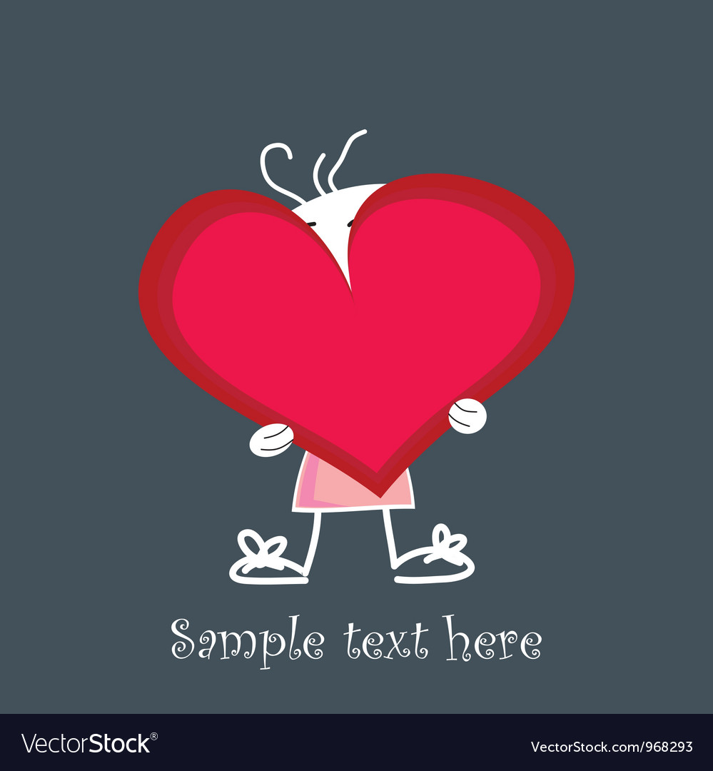 Cute little baby holding a red heart vector | Price: 1 Credit (USD $1)