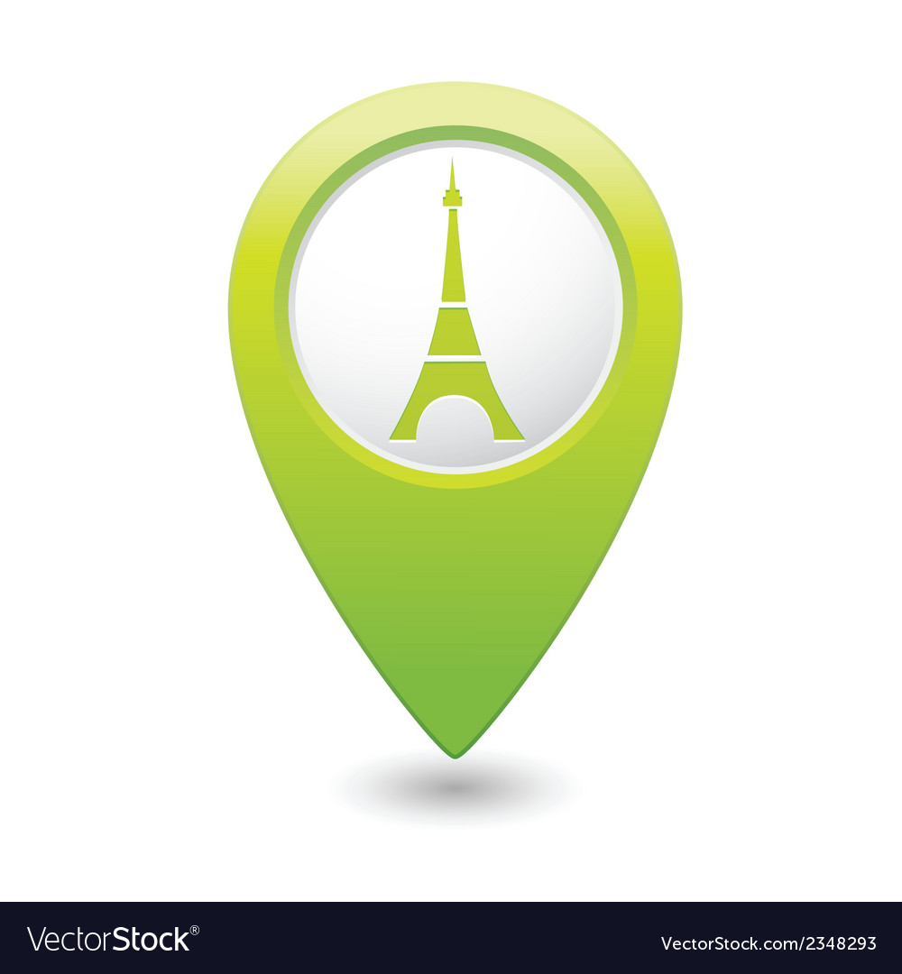 Eifel tower icon on map pointer green vector | Price: 1 Credit (USD $1)