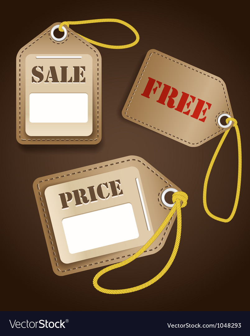 Leather shopping tags with rope vector | Price: 1 Credit (USD $1)